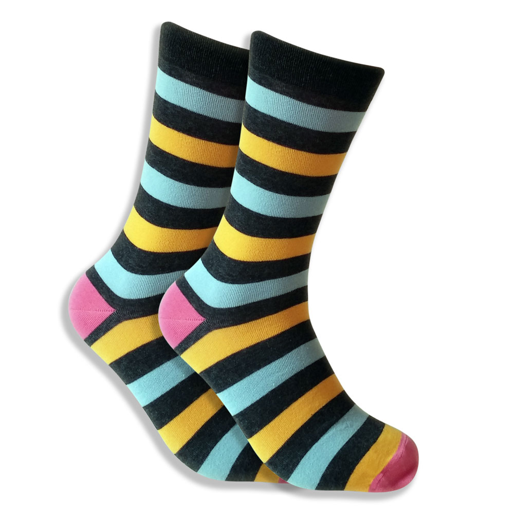 Men's Striped Socks - Blue, Yellow & Black - Fat Stripes