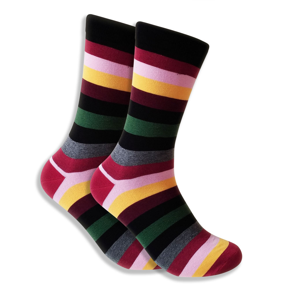 Men's Socks With Red, Green, Black & Gray Stripes