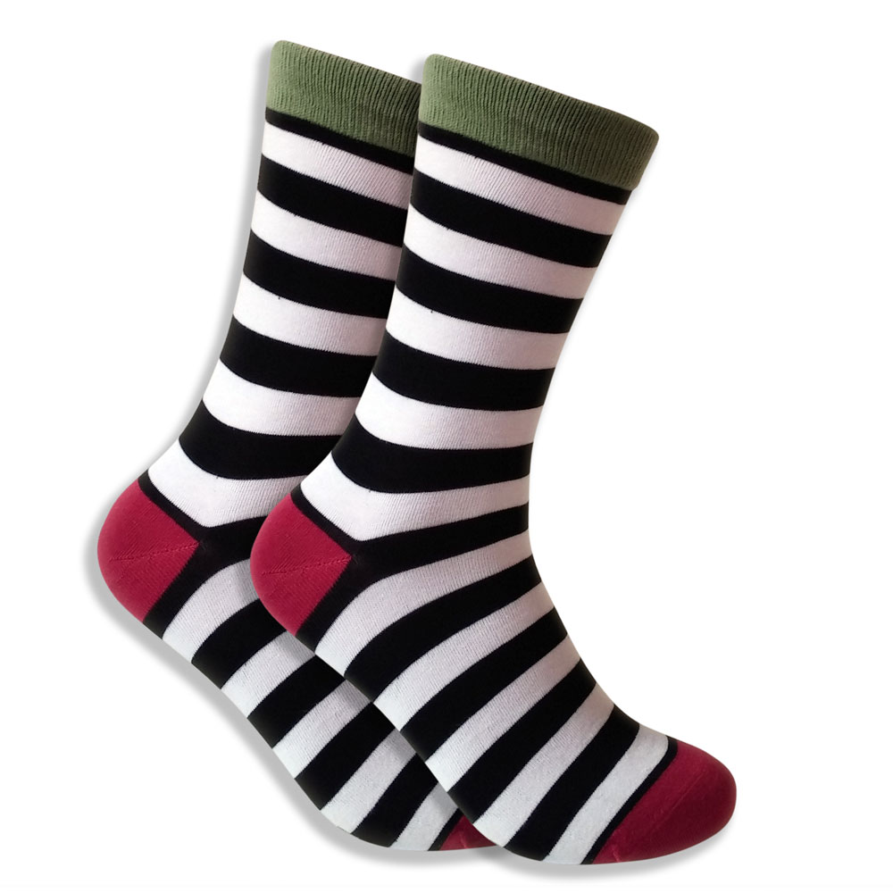 Men's Socks: Black & White Stripes With Green & Red Highlights
