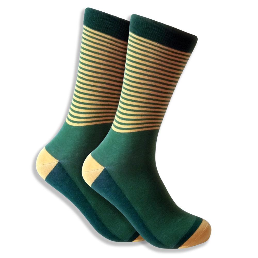 Green & Yellow Striped Socks For Men