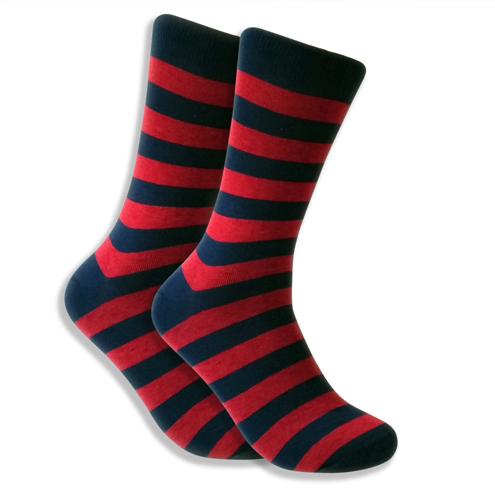 Men's Socks With Horizontal Black & Red Stripes
