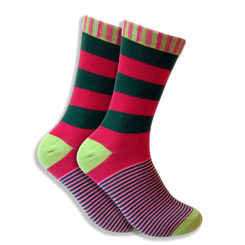 Men's Watermelon Socks - Pink & Green Stripes