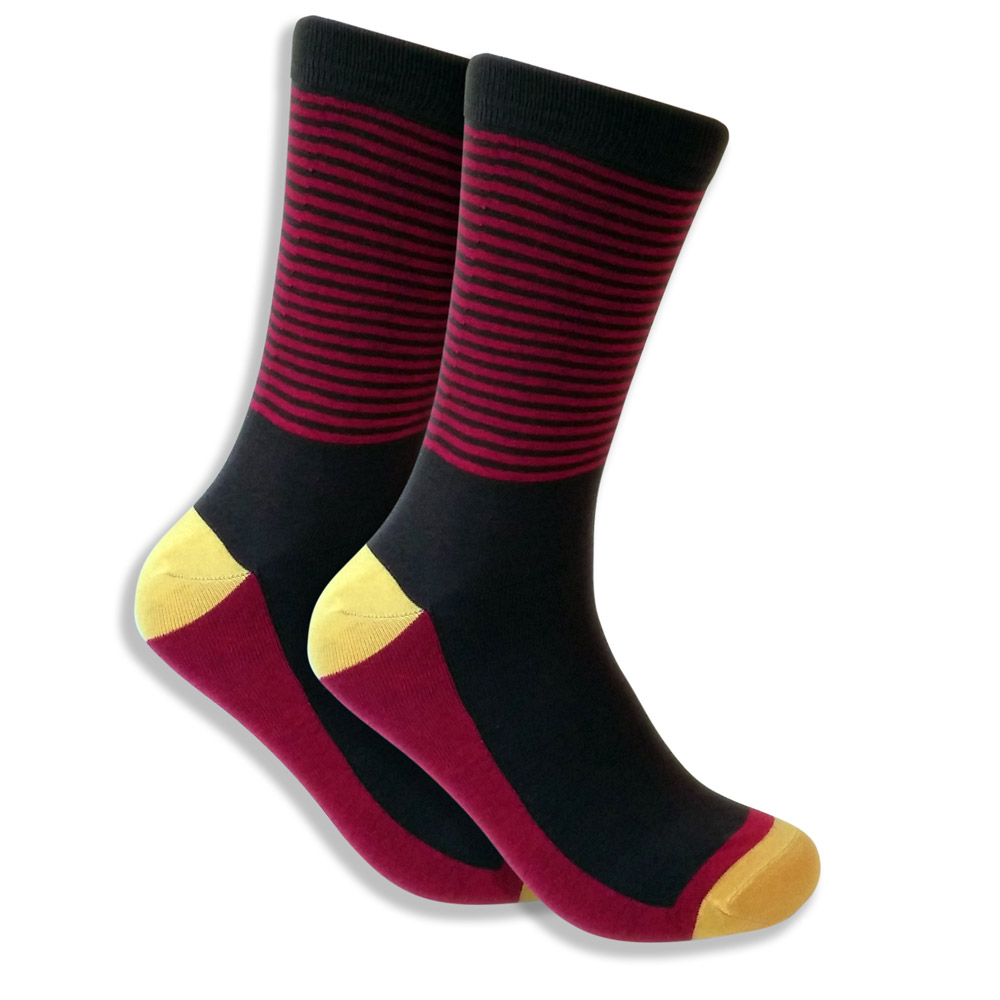 Black Socks For Men With Red Stripes & Yellow Heel & Toe