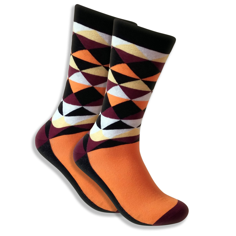 Men's Socks With Brown & Orange Triangles