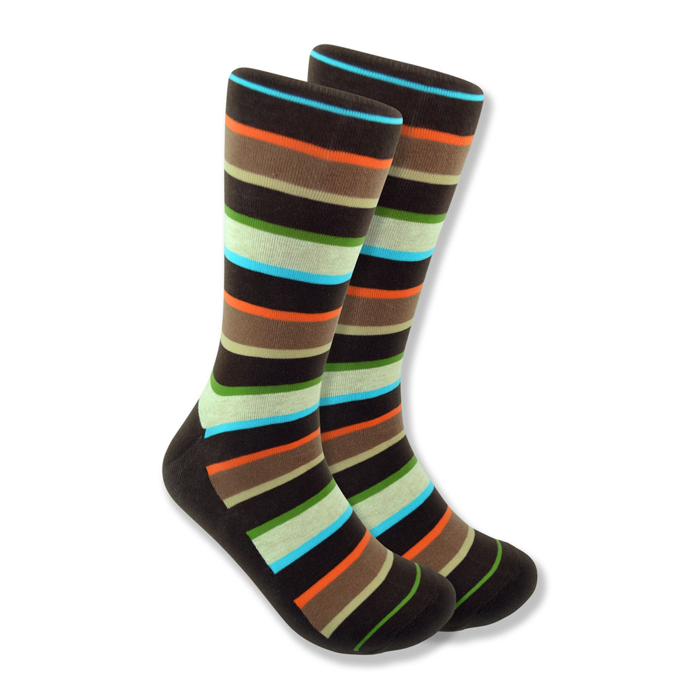 Men's Striped Socks in Brown, Orange & White