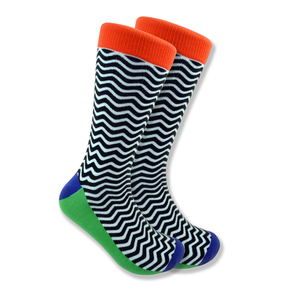 Black & white wave socks with orange cuffs
