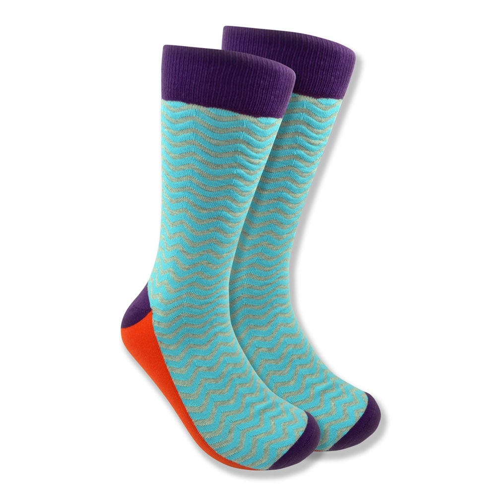 Men's White & Blue Wave Socks