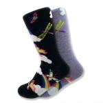 Women's Mismatched Butterfly Socks in Black & Purple