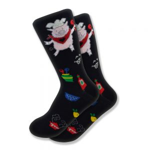 Women's Pig Chef Socks in Black
