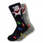 Women's Mismatched Piggy Chef Socks in Black & Gray