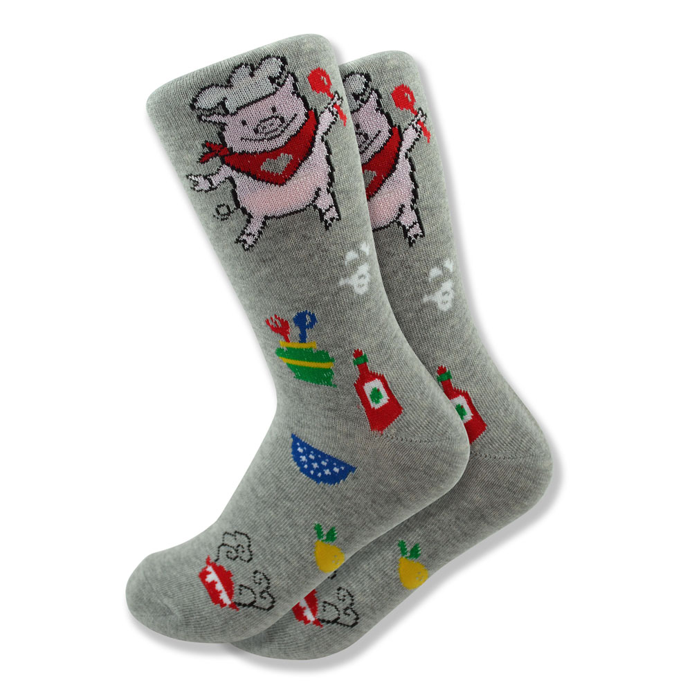 Women's Pig Chef Socks in Gray
