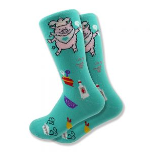Women's Pig Chef Socks in Turquoise