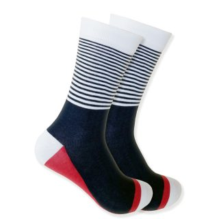 Black & White Stripes With Red Accent Socks