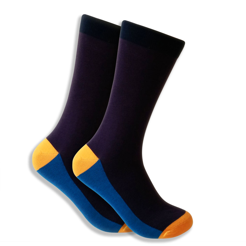 Men's Purple Socks With Blue & Yellow Highlights