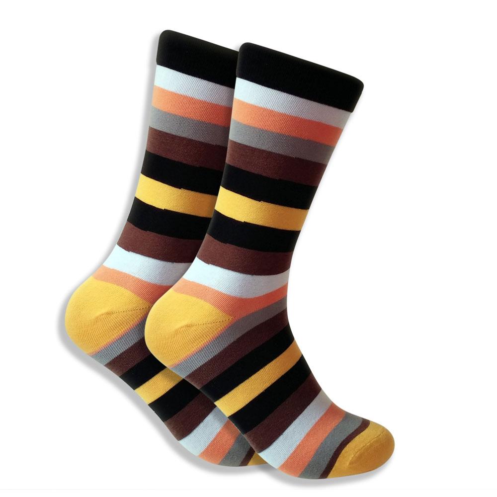 Yellow, Orange, Brown, Gray, Black & White Striped Socks For Men