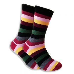 Men's Socks With Red, Green, Black & Gray Stripes