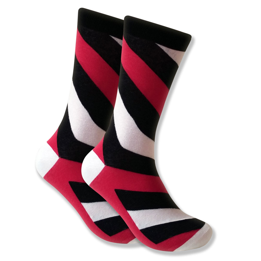 Men's Socks: Red, Black & White Diagonal Stripes