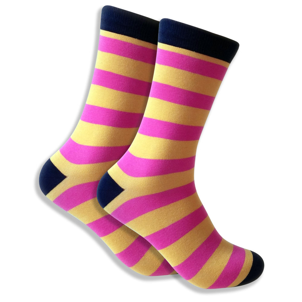 Men's Socks With Thick Pink & Yellow Stripes