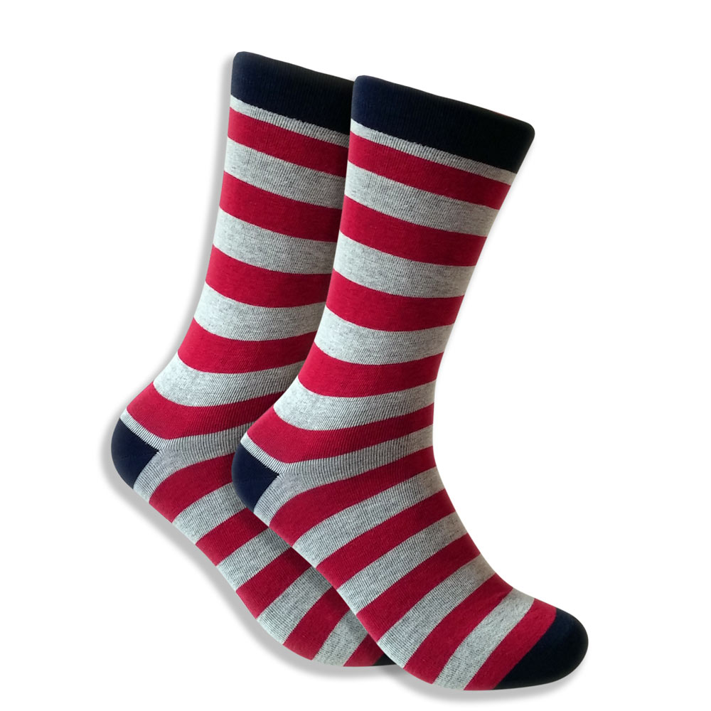 Horizontal Red & Gray Striped Socks For Men