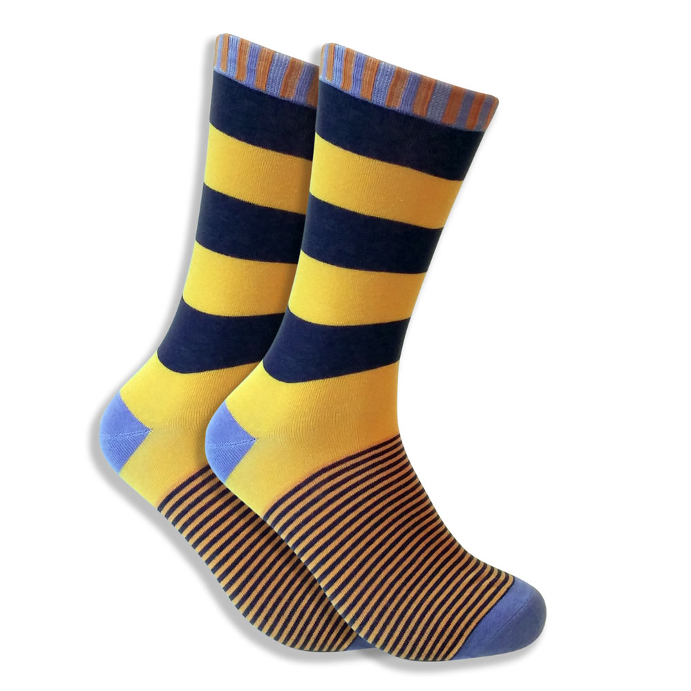 Men's Socks With Wide Purple & Yellow Stripes