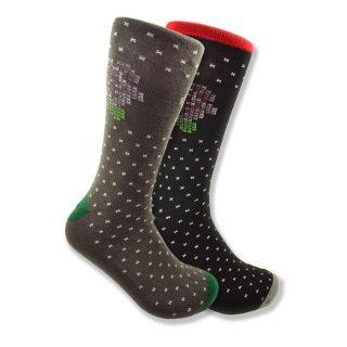 Men's Mismatched Socks with Sampler Flower Accent