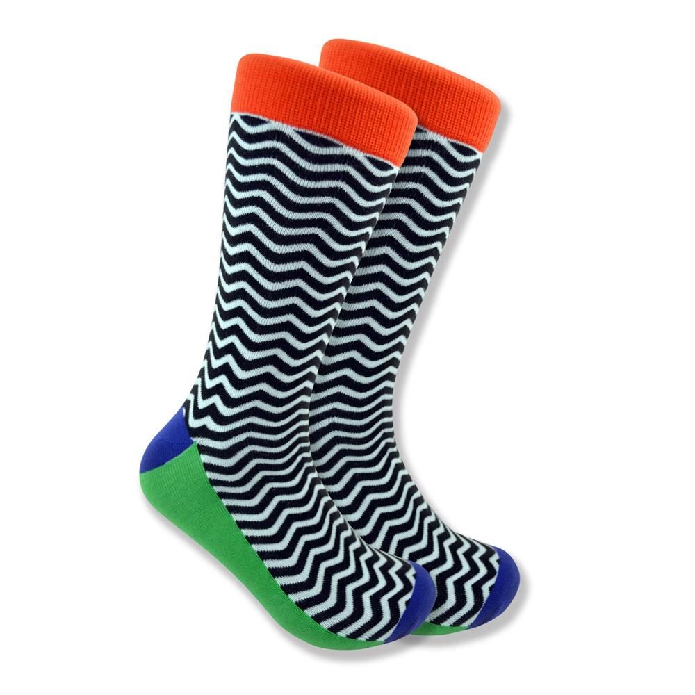 Black & white wave socks with orange cuffs