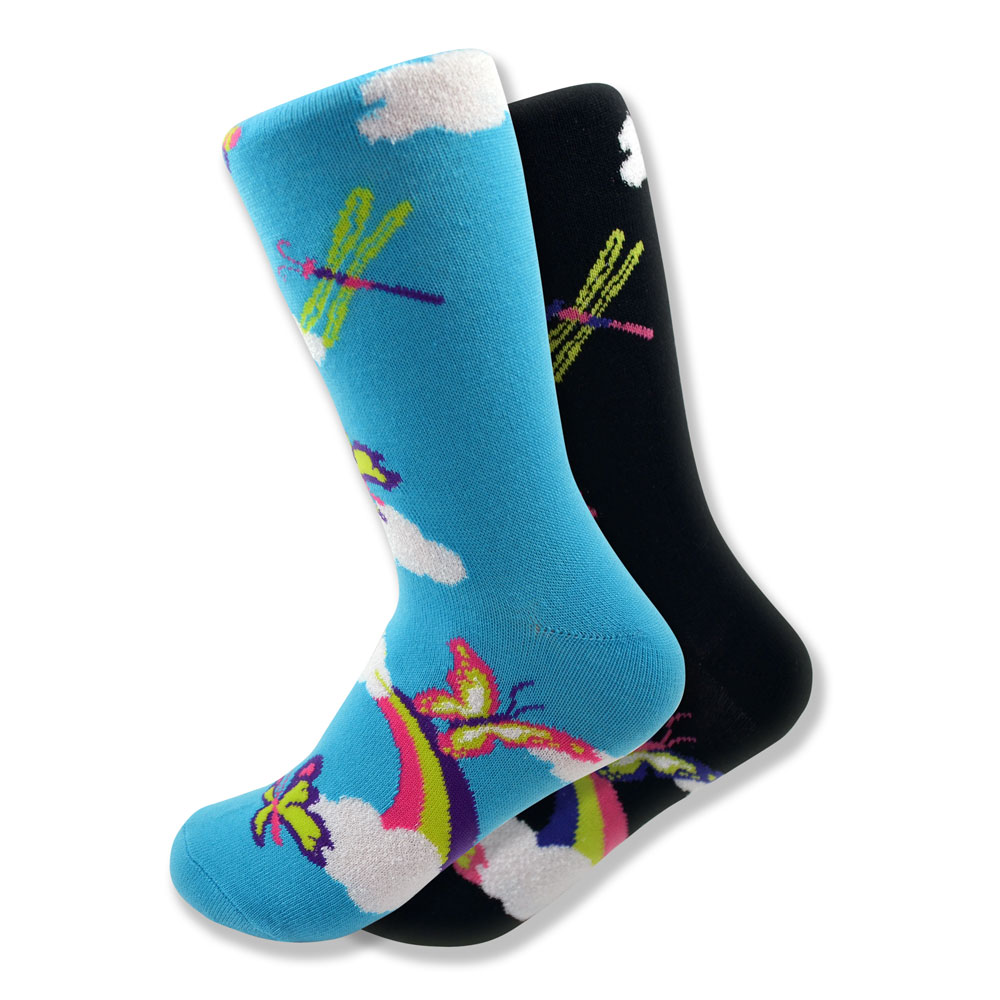 Women's Mismatched Butterfly Socks in Black & Blue