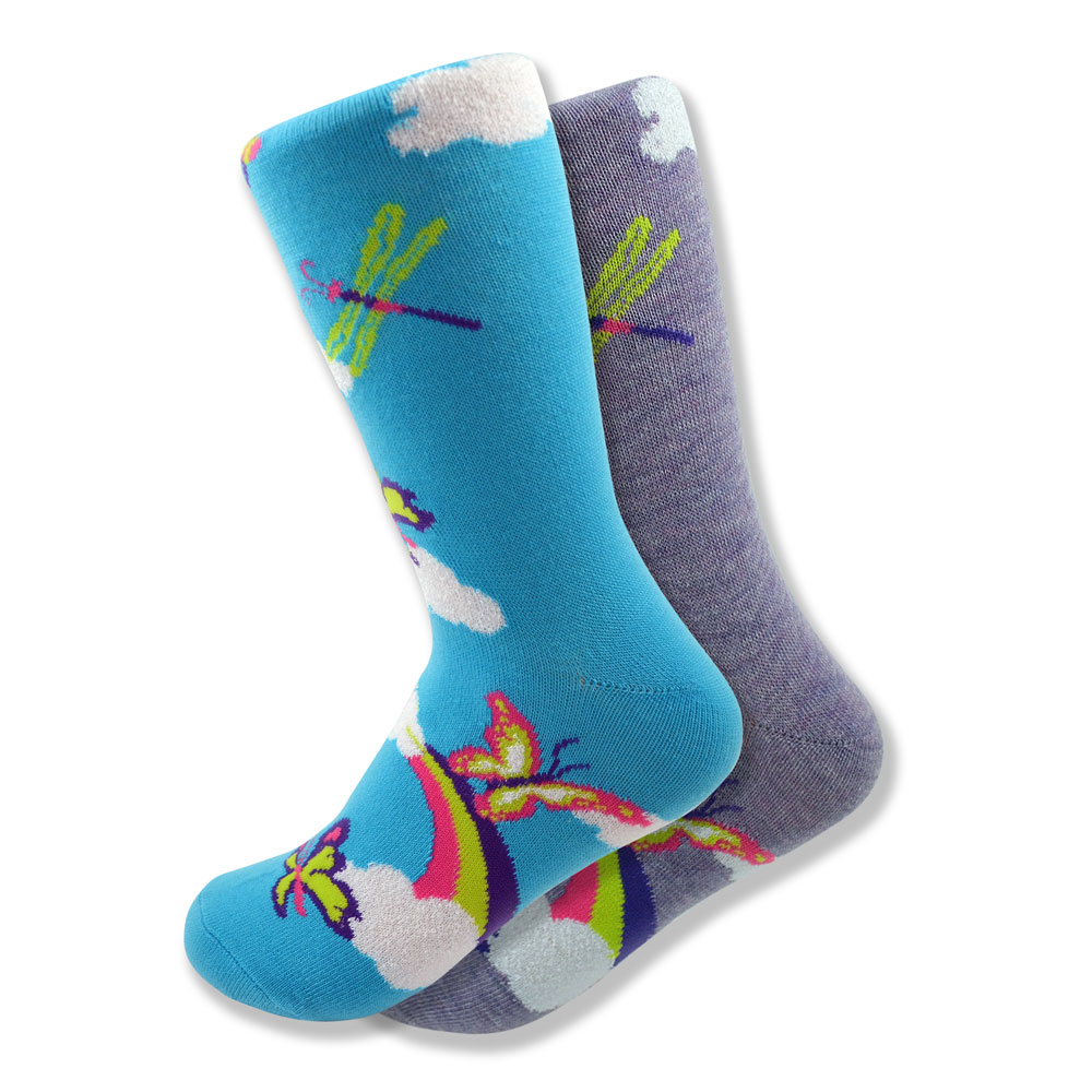 Women's Mismatched Butterfly Socks in Purple & Blue