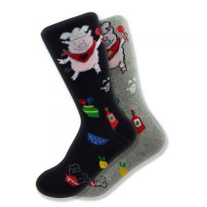 Women's Mismatched Piggy Chef Socks in Black & Gray