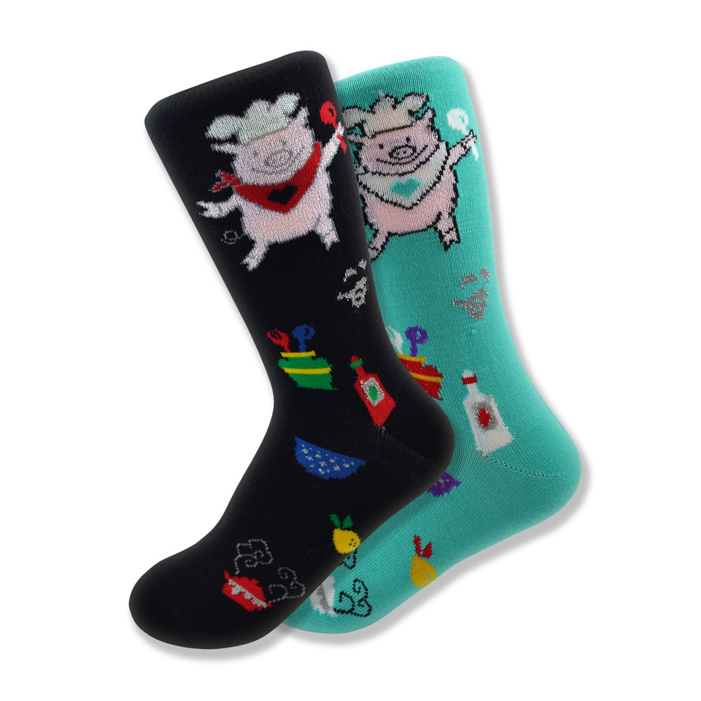 Women's Mismatched Piggy Chef Socks in Black & Turquoise
