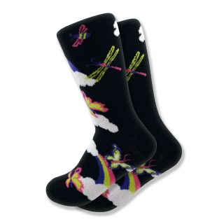 Women's Butterfly, Dragonfly & Rainbow Socks in Black