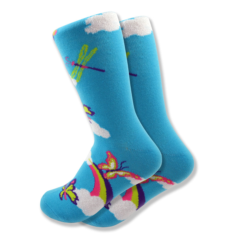 Women's Butterfly, Dragonfly & Rainbow Socks in Baby Blue