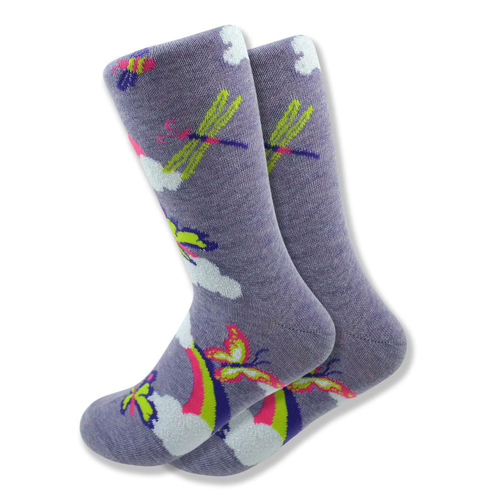 Women's Butterfly, Dragonfly & Rainbow Socks in Purple